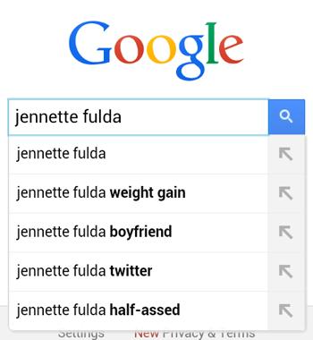 Google Instant Search for 'Jennette Fulda'