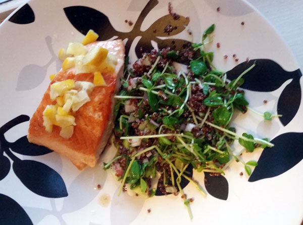 Red Salmon & Preserved Lemon with Red Quinoa & Pea Shoots
