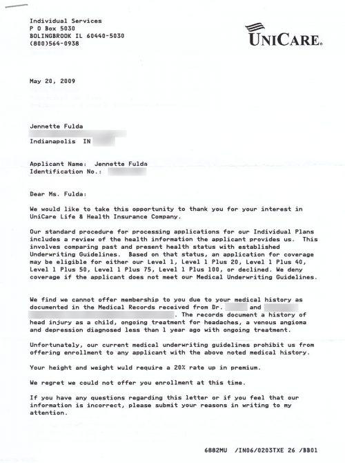 Unicare denial letter 2009