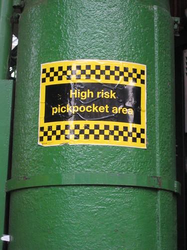 High risk pick-pocketing zone