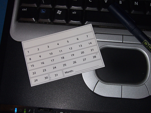 Calendar on keyboard