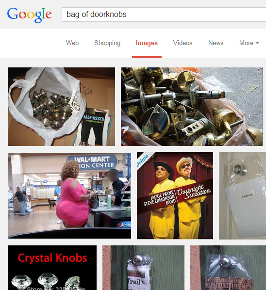 "Google search for ""bag of doorknobs"""