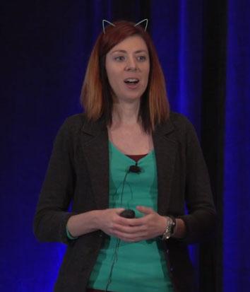 Jen Myers wearing cat ears