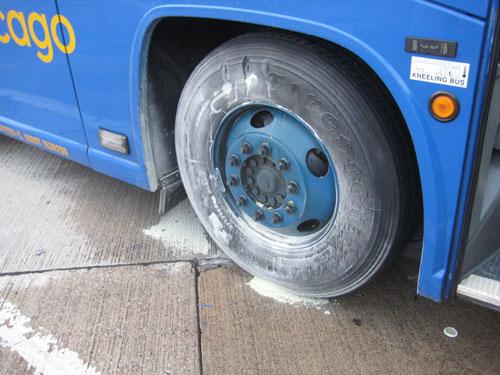 The smokin' Megabus wheels